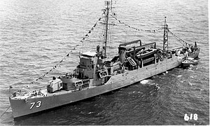 USS Bassett (APD-73) at anchor in the 1950s