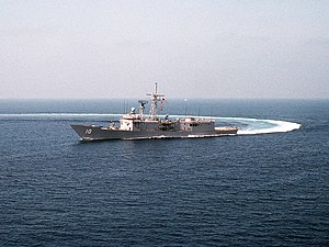 USS Duncan (FFG-10) comes about near San Diego, California.