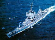 USS Long Beach (CGN-9) underway at sea, circa in the 1960s