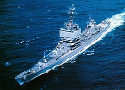 USS Long Beach (CGN-9) underway at sea, circa in the 1960s.jpg