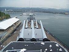 USS Missouri watching over USS Arizona - Pearl Harbor.jpg