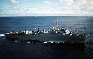 USS Pensacola (LSD-38) transiting the Atlantic Ocean on 12 August 1988.jpg