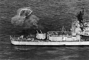 USS Theodore E. Chandler (DD-717) - Theodore E. Chandler giving gunfire support in 1966.