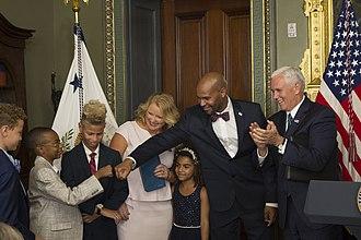 Jerome Adams - U.S. Vice President Mike Pence swears-in Adams as U.S. Surgeon General on September 5, 2017.