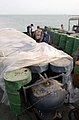 US Navy 030321-N-4655M-029 Coalition Navy Explosive Ordnance Disposal (EOD) team members inspect camouflaged mines hidden inside oil barrels on the deck of an Iraqi shipping barge.jpg