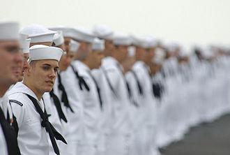 Fleet Week - Sailors man the rails on the flight deck of USS ''John C. Stennis'', San Diego Fleet Week parade.
