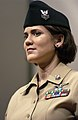 US Navy 041208-N-0962S-116 Yeoman 1st Class Erin Morgan stands at attention as she models the khaki option of the year-round concept service uniform for Sailors E-6 and below.jpg