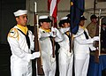 US Navy 060421-N-3293G-002 USS Tarawa (LHA 1) color detail parade the colors during a retirement ceremony held aboard the amphibious assault ship.jpg