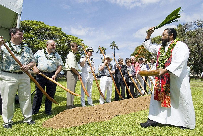 File:US Navy 070403-N-6674H-069 Kuhu Kaleo Patterson performs a traditional Hawaiian blessing as Commander, Navy Region Hawaii (CNRH) Rear Adm. T. G. Alexander use Hawaiian o-o sticks during a military housing groundbreaking ceremon.jpg