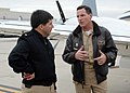 US Navy 080108-N-8607R-045 Capt. Brad Conners, commanding officer of the Naval Base Ventura County (NBVC), speaks with Rear Adm. Robert J. Bianchi, commander, Navy Exchange Service Command, on the flight line at NBVC Point Mugu.jpg