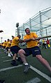 US Navy 090701-N-1232V-057 Aviation Boatswain's Mate (Fuel) 1st Class Joseph Determan leads the U.S. Navy tug-of-war team to a victory against the Japan Maritime Self-Defense Force team.jpg