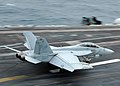 US Navy 091006-N-7191M-202 An F-A-18F Super Hornet assigned to the Diamondbacks of Strike Fighter Squadron (VFA) 102, lands on the flight deck of the aircraft carrier USS George Washington (CVN 73)..jpg