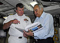 US Navy 100708-N-9055S-098 Capt. Mike Brown, commanding officer of the Ohio-class guided-missile submarine USS Georgia (SSGN 729), accepts a gift from Chania Mayor Kyriakos Virvidakis after a tour of Georgia.jpg