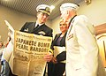 US Navy 111207-N-GT710-001 Capt. Stephen E. Iwanowicz, commander of Naval Undersea Warfare Center, Keyport, speaks with Pearl Harbor survivor Mayna.jpg