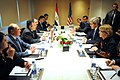 US Secretary of State John Kerry and a government delegation meets with Egyptian Interim Foreign Minister Nabil Fahmy and respective counterparts in Cairo on 3-Nov-2013.jpg