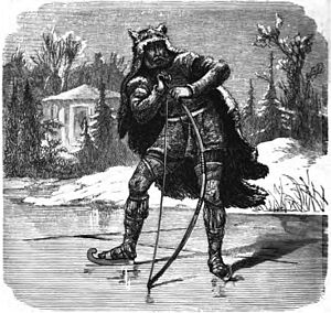 Ýdalir - Leaning on a bow, the god Ullr stands atop a frozen lake surrounded by evergreen trees and a building (1882) by Friedrich Wilhelm Heine.