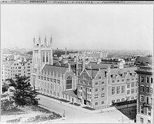 Side view of Union Theological Seminary at Claremont Avenue between 120th and 119th streets (1910)