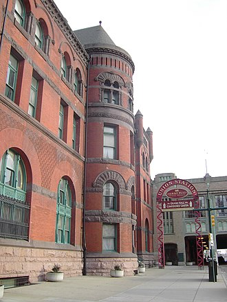 Indianapolis Union Station - South Illinois Street entrance.