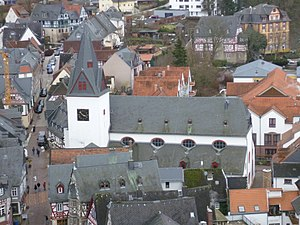 United and uniting churches - Unionskirche in Idstein held by the Protestant Church in Hesse and Nassau. It commemorates the union of Lutheran and Reformed Protestants in the Duchy of Nassau in August 1817, the first of its kind and a month before the Prussian Union in September of the same year.