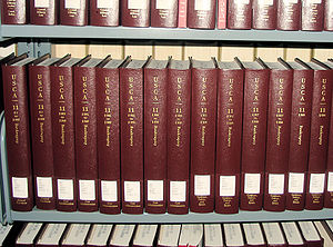 Bankruptcy in the United States - A few volumes of Title 11 (Bankruptcy) of the United States Code Annotated (U.S.C.A.) at a law library.