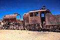 Uyuni Train Cemetary - for over 100 years these relics have rusted away in the unrelenting Salar winds - victims of changing mining practices and the loss of a Pacific Port to Chile in the War of the (24543144890).jpg