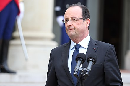 President François Hollande (pictured in 2013) was at the Stade de France during the attacks V.Dombrovskis tiekas ar Francijas prezidentu (8662380787).jpg