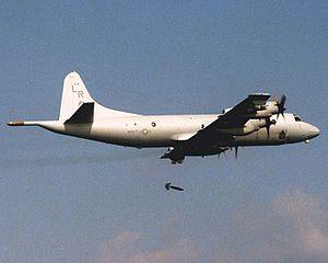 VP-24 - VP-24 P-3C drops a Snakeye retarded bomb