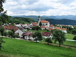 Vače - View of Vače from GEOSS