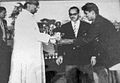 Varahalu S receiving award from the honorary first president of India Dr.Rajendra Prasad.jpg