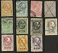 Various telegraph stamps of Austria 1873 and 1874.jpg