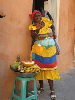 Afro-Colombians - African Colombian fruit seller in Cartagena, Colombia.