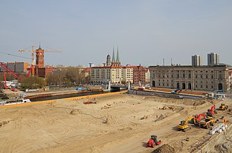 Humboldt Box - View from the Humboldt Box to the construction site of the replica of Berlin Palace, April 2013