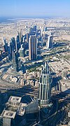 View from the top of the Burj Khalifa Sky Lounge, floor 148 (visible below is the Financial Center) (36694040754).jpg