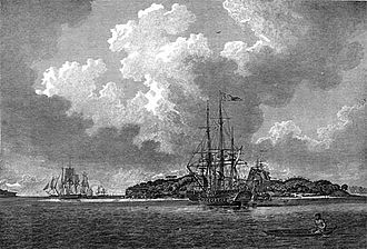First Fleet - An engraving of the First Fleet in Botany Bay at voyage's end in 1788, from The Voyage of Governor Phillip to Botany Bay. Sirius is in the foreground; convict transports such as Prince of Wales are depicted to the left.