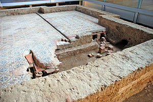 Hypocaust - Ruins of the hypocaust under the floor of a Roman villa at La Olmeda, Province of Palencia (Castile and León, Spain).