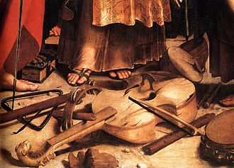 Viol - Early Italian tenor viola da gamba, detail from the painting St. Cecilia, by Raphael, c. 1510.