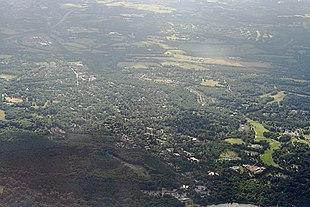 Aerial view of Virginia Water.