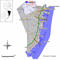 Map of Vista Center CDP in Ocean County. Inset: Location of Ocean County in New Jersey.