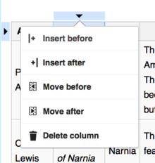 Screenshot showing a dropdown menu with options for editing the table structure