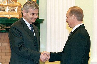 Joschka Fischer - Fischer with Russian President Vladimir Putin in 2001