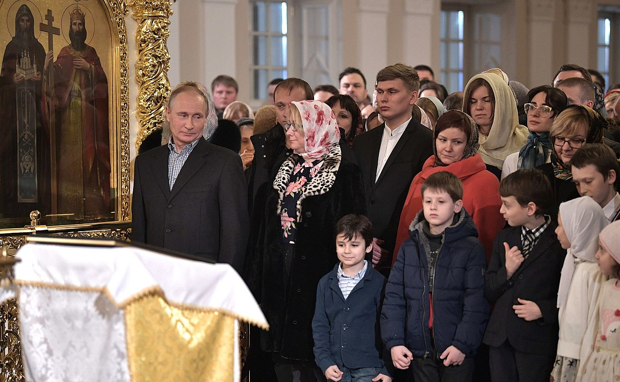 Vladimir Putin at Christmas service at the Church of Simeon and Anna (St. Petersburg; 2018-01-07) 03.jpg