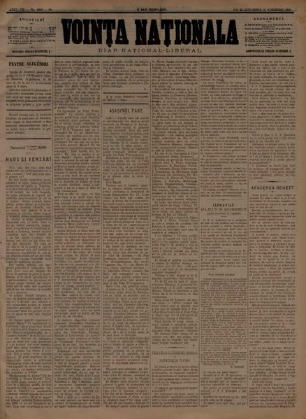File:Voința naționala 1890-10-25, nr. 1821.pdf