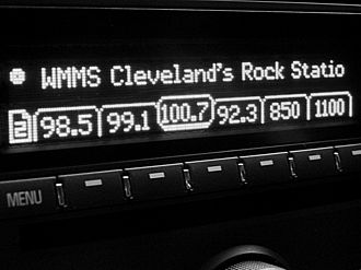 WMMS - Car radio equipped with RDS display, set to 100.7 FM in the WMMS listening area