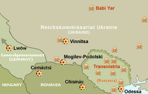 Bogdanovka - Map of the Holocaust in Ukraine. Odessa ghetto marked with gold-red star. Transnistria massacres marked with red skulls.