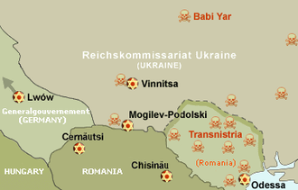 1941 Odessa massacre - Map of the Holocaust in Ukraine. Odessa ghetto marked with gold-red star. Transnistria massacres marked with red skulls.
