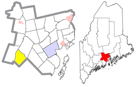 Location of Liberty (in yellow) in Waldo County and the state of Maine