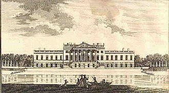 Colen Campbell - Wanstead House, as built, illustrated in Nathaniel Spencer, The Complete English traveller, London 1771