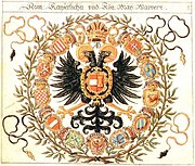 Coats of arms of a Habsburg Emperor showing the variety of his territories.