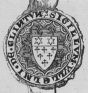 "William de Clinton, 1st Earl of Huntingdon - SIGILLUM W(I)LLELMI DE CLINTUN (""seal of William de Clinton""). Drawing of seal appended to charter recording award dated 19 July 1347 of a court of honour, of which Clinton was a juror, convened before the Siege of Calais in the matter of Warbelton v. Gorges. MS Ashmole 1137, f.144, Bodleian Library, Oxford"