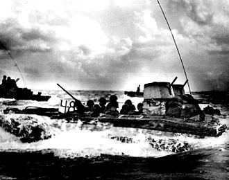 Mariana and Palau Islands campaign - Image: Water Buffalo loaded with Marines